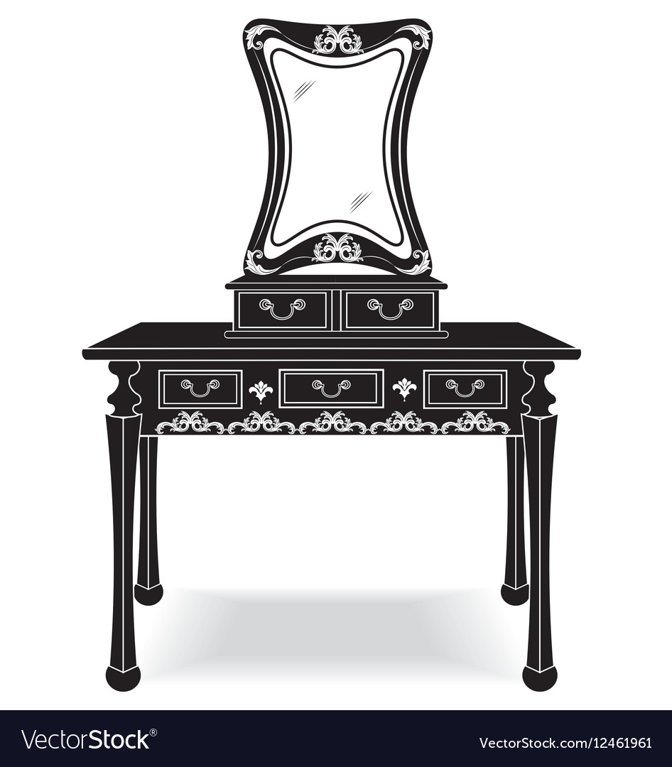 Vintage Dressing Table and mirror frame vector image