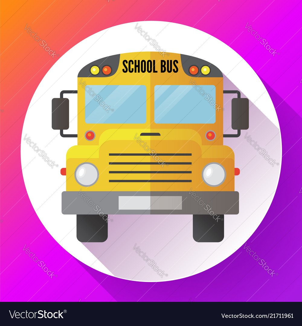 Yellow school bus icon isolated on white