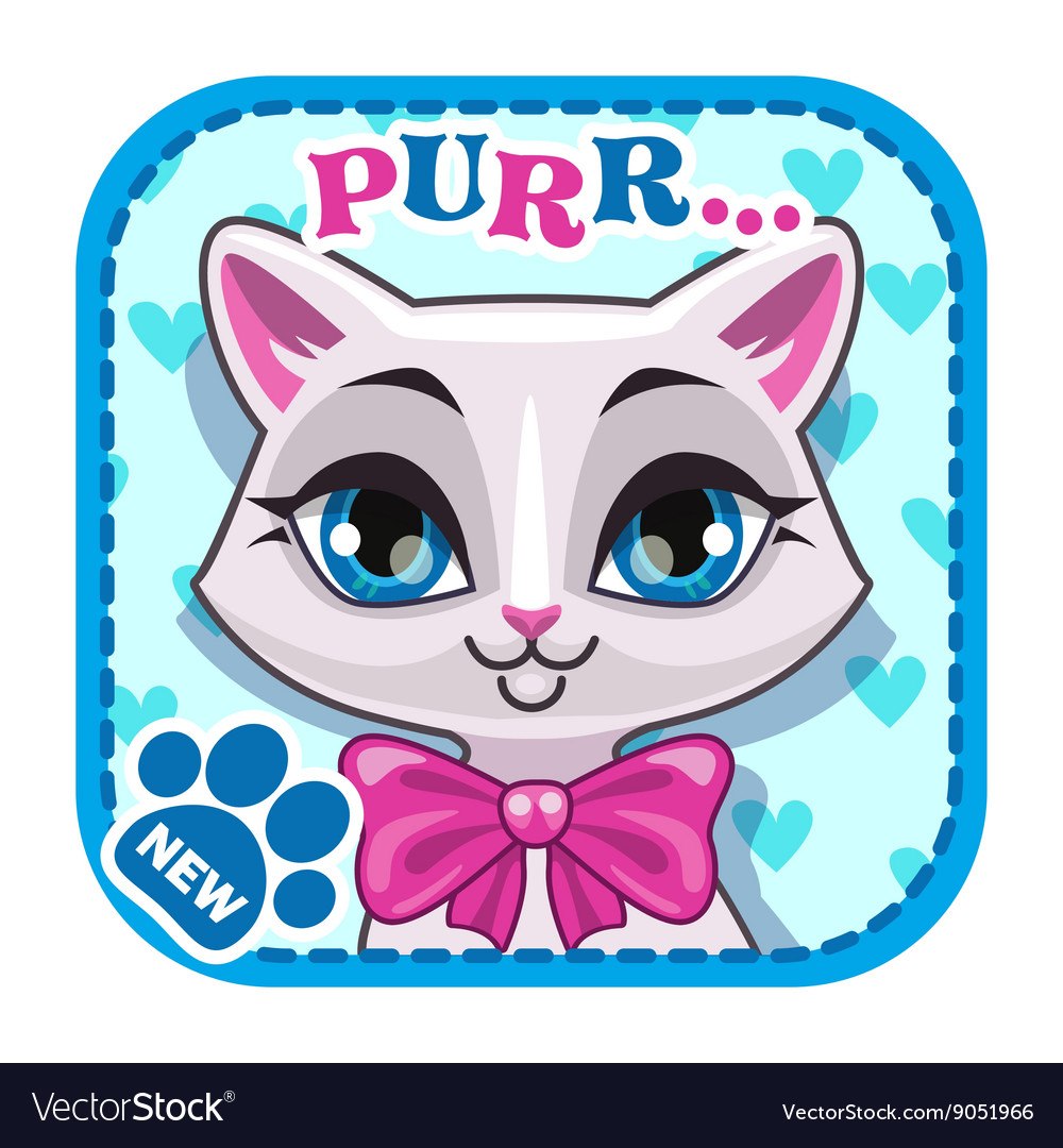 App icon with cute white cat face