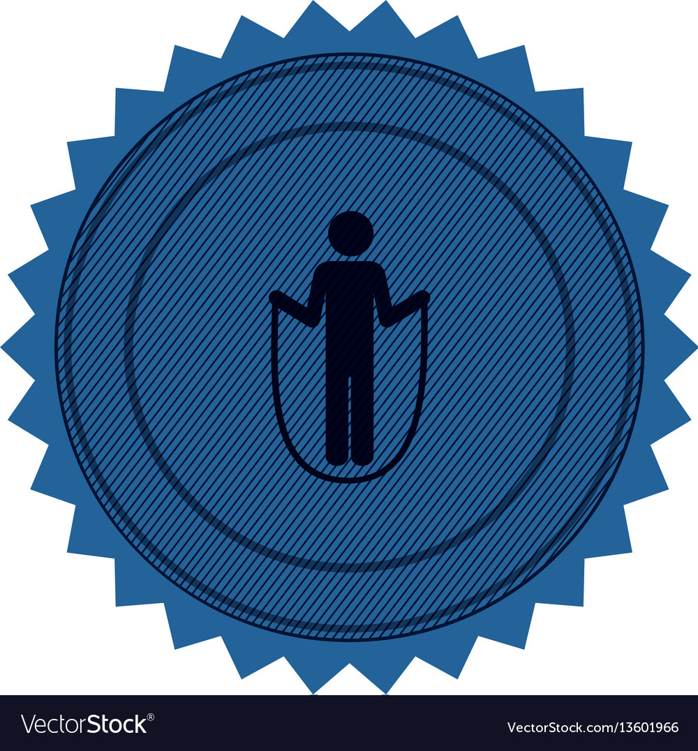 Blue circular seal with training in skipping rope