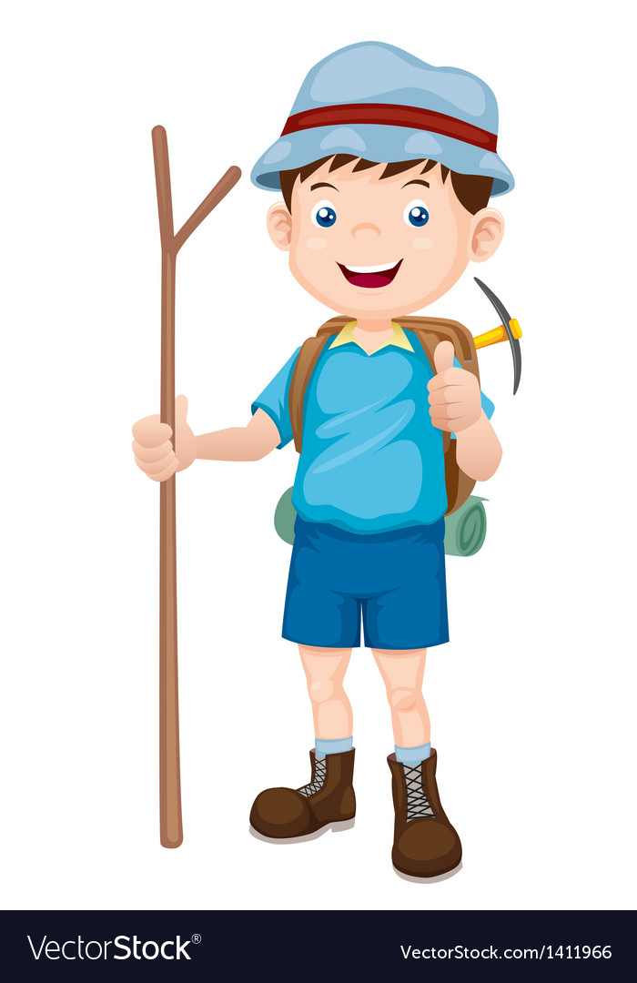 Boy Hiking vector image