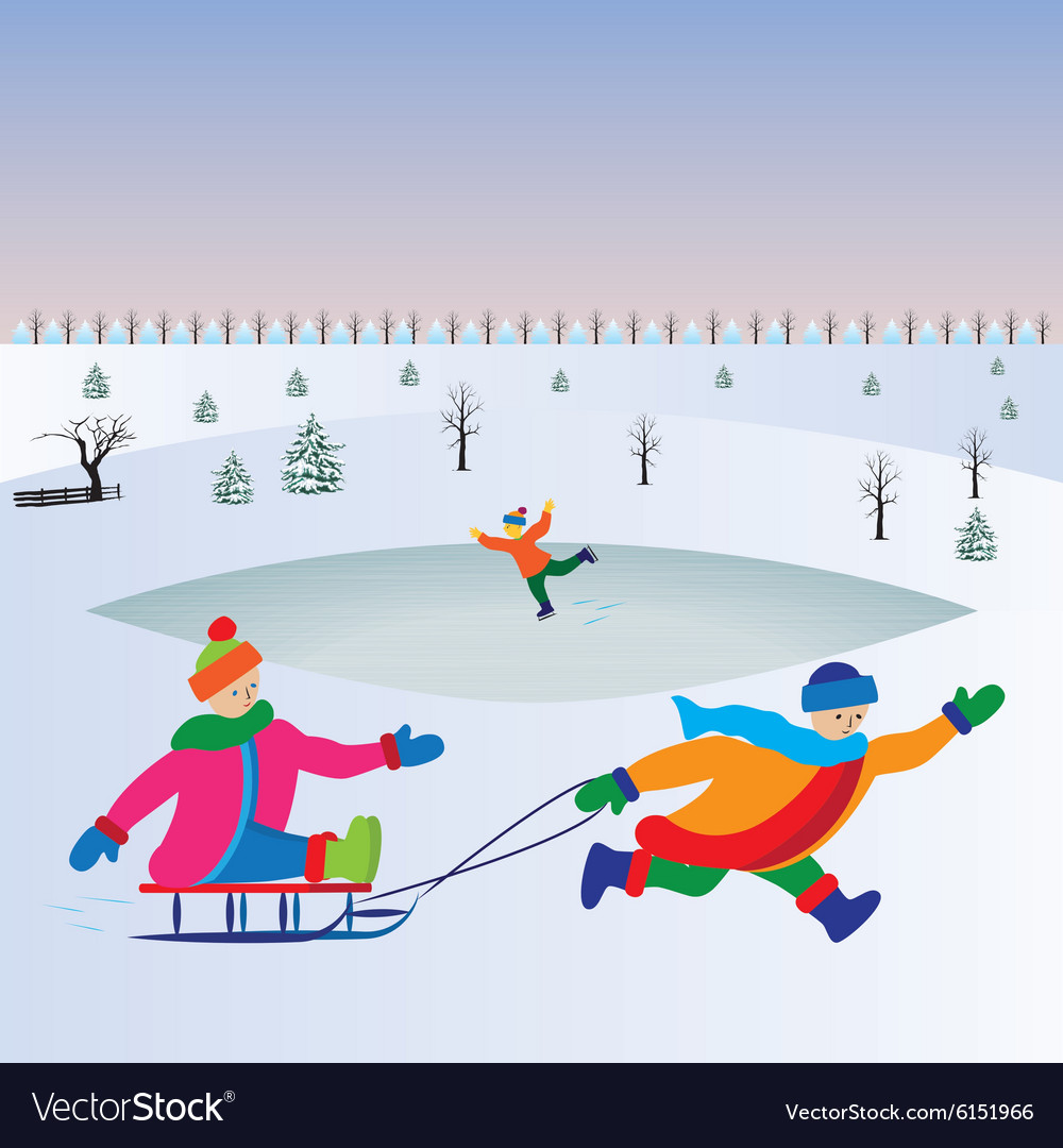 Children with sled Kids playing winter games