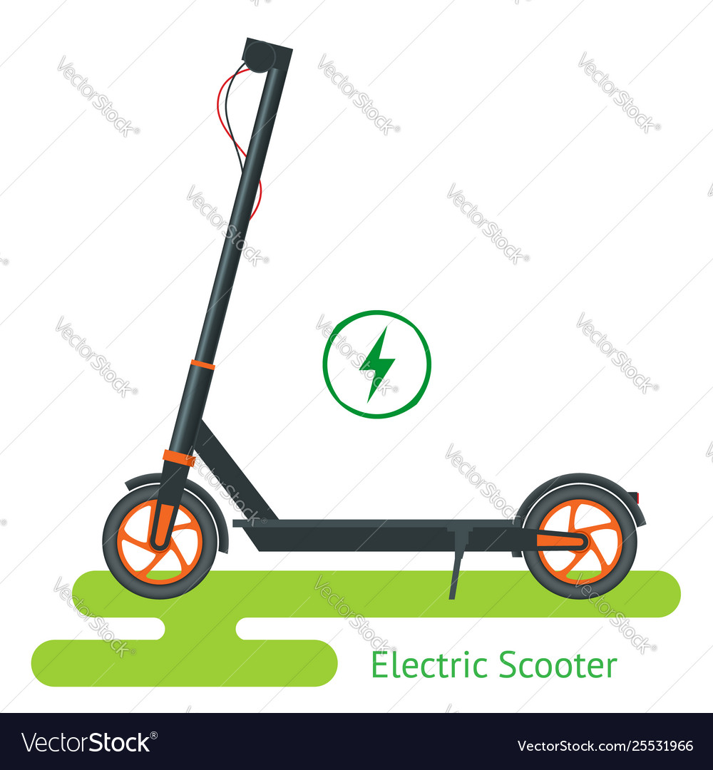 Electric scooter on road electric scooter