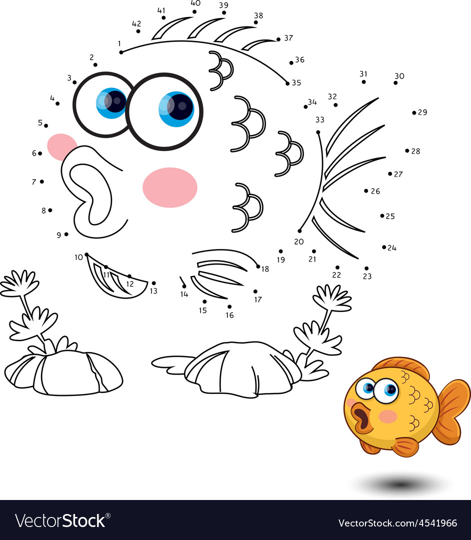 Fish Connect the dots and color vector image