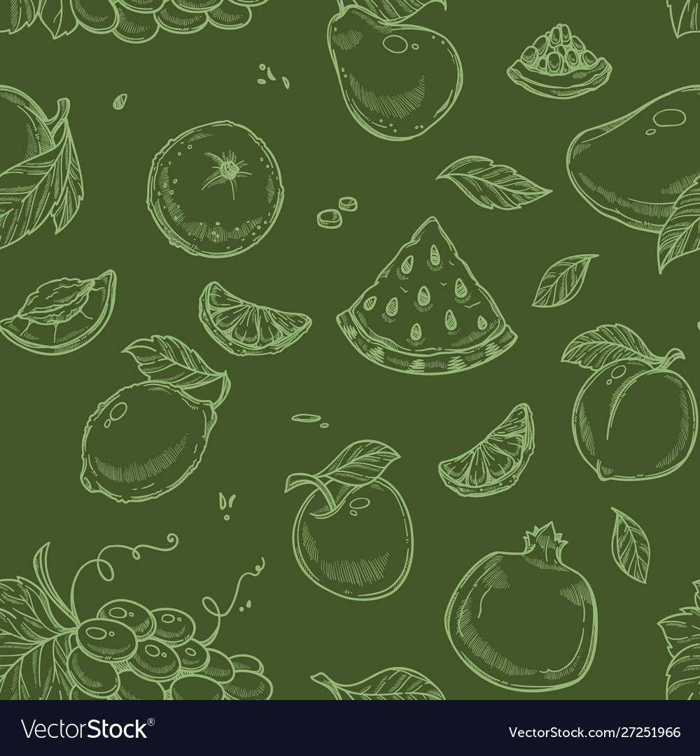 Fruits seamless pattern organic vegetarian food