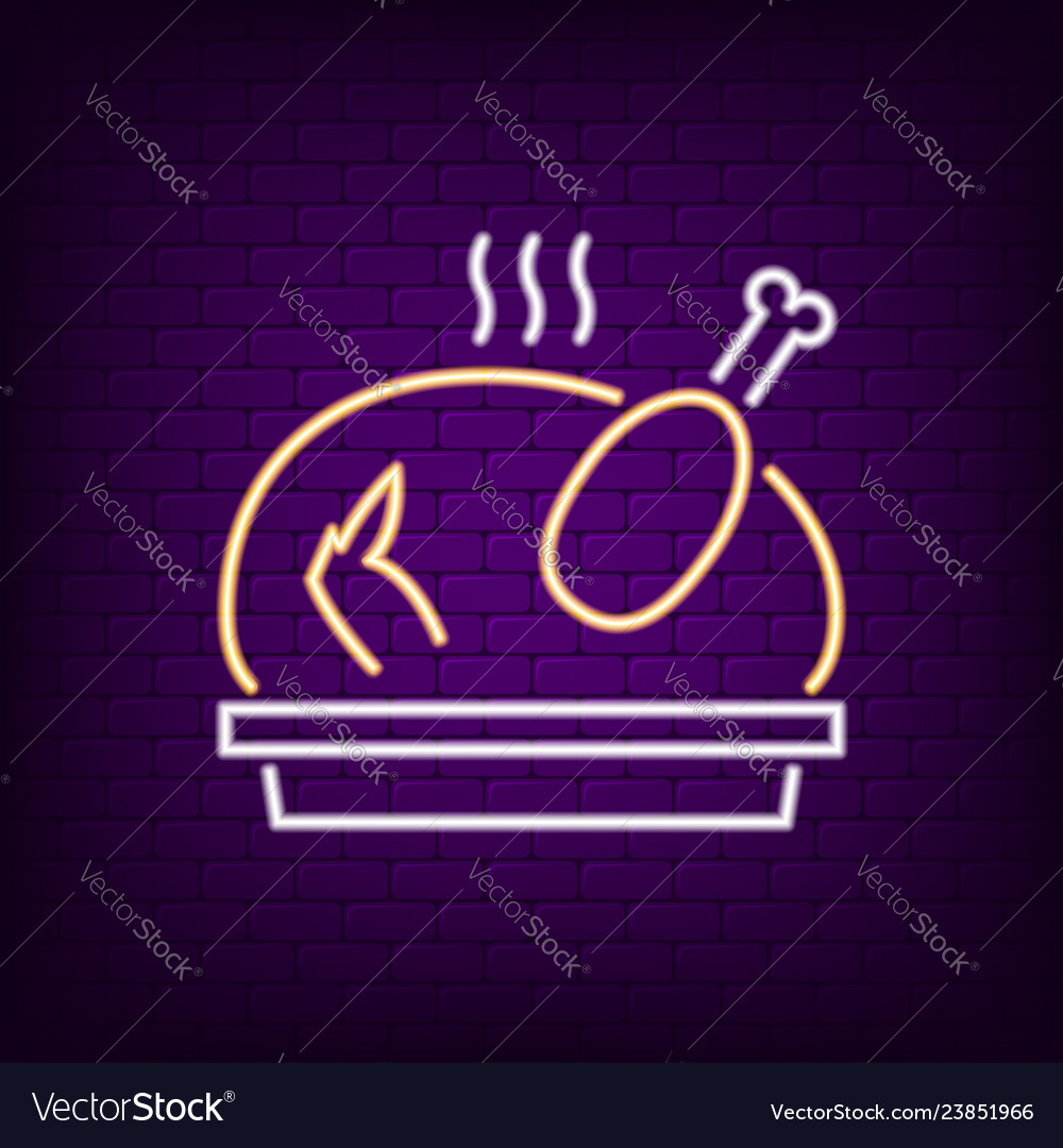 Grilled turkey neon sign thanksgiving day concept