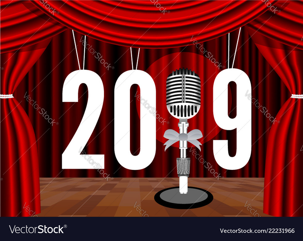 happy new year 2019 on the background of the stage vector image