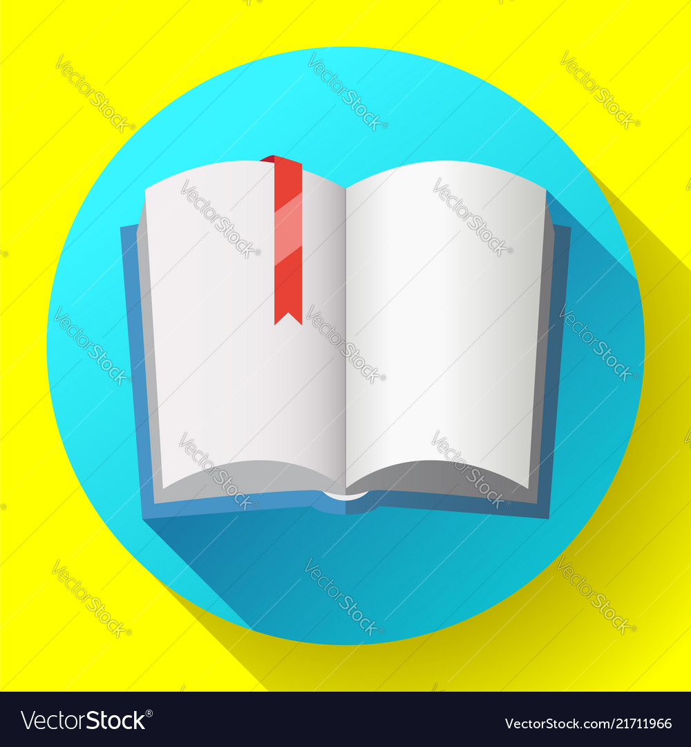 Icon of open textbook with red bookmark