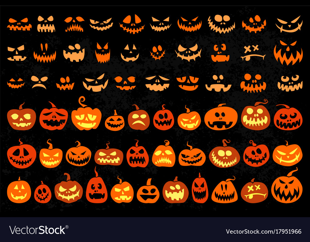 Jack O Lantern And Evil Faces Set Royalty Free Vector Image
