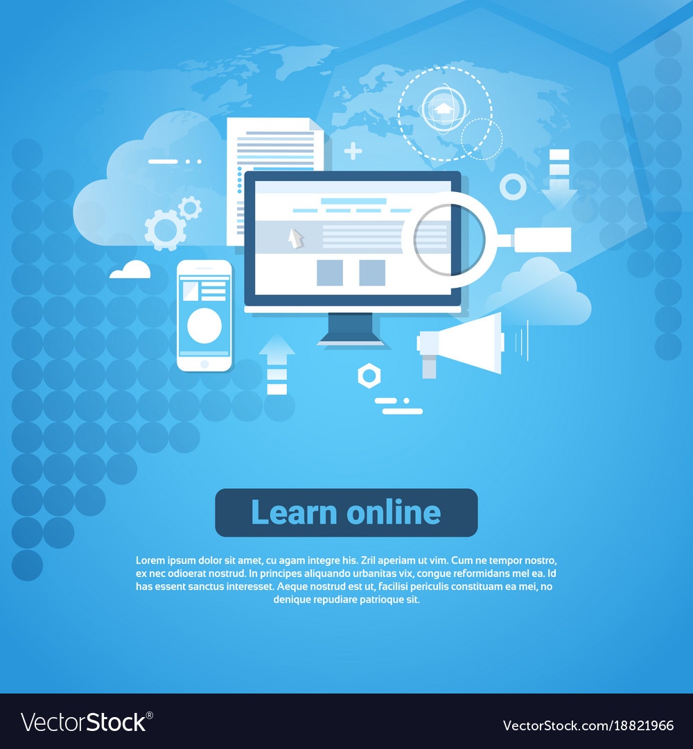Learn online template web banner with copy space