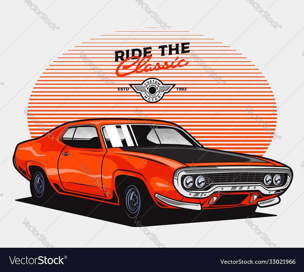Orange classic muscle car