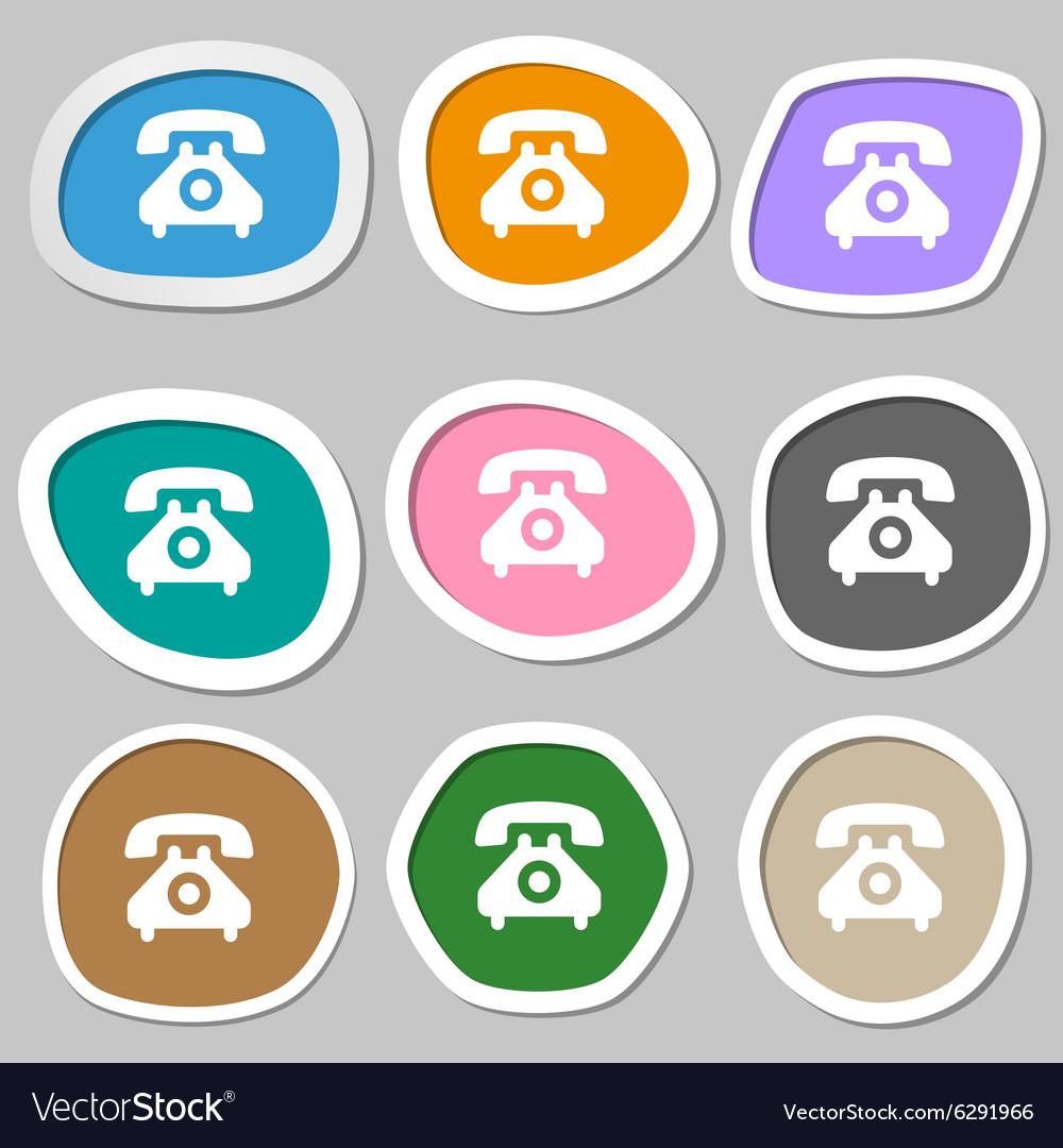 Retro telephone handset icon symbols Multicolored