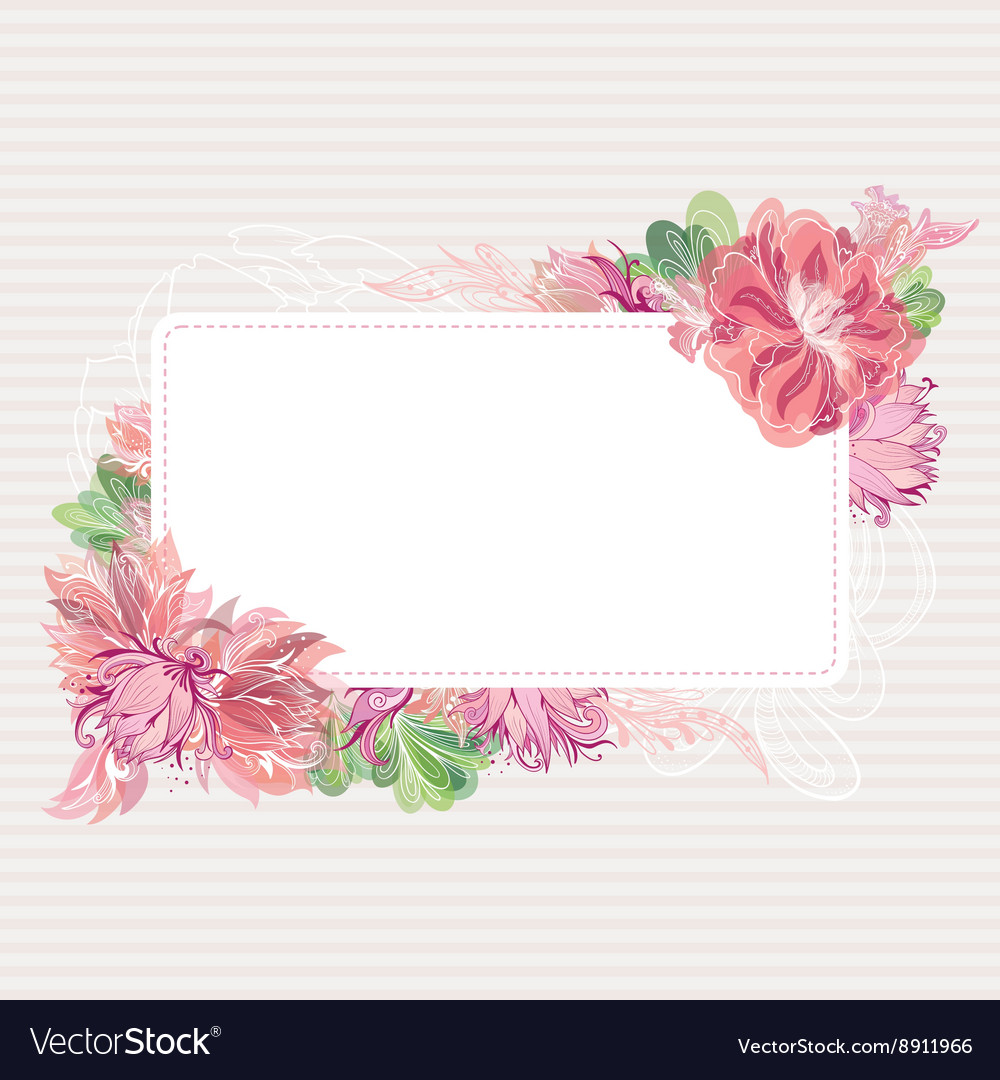 Romantic Card Template with Floral Border