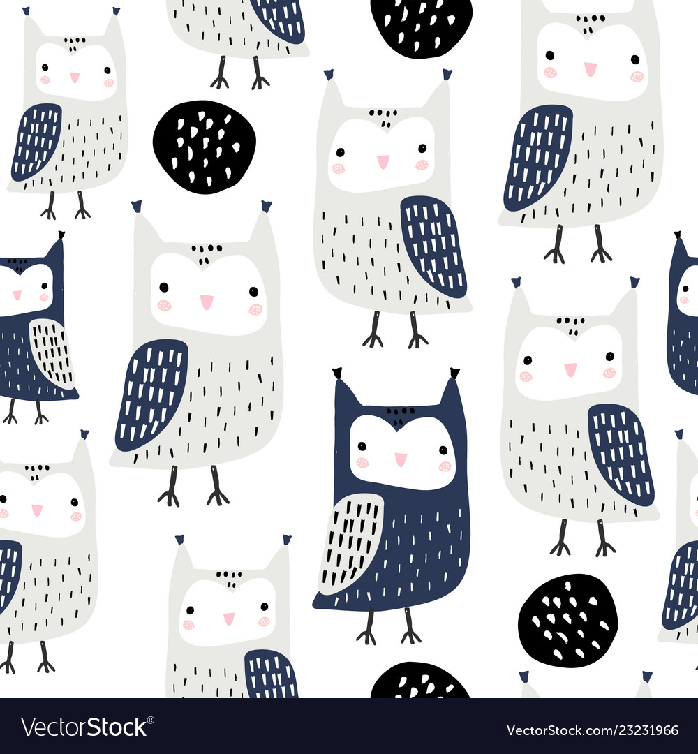 Seamless pattern with owls and abstract shapes