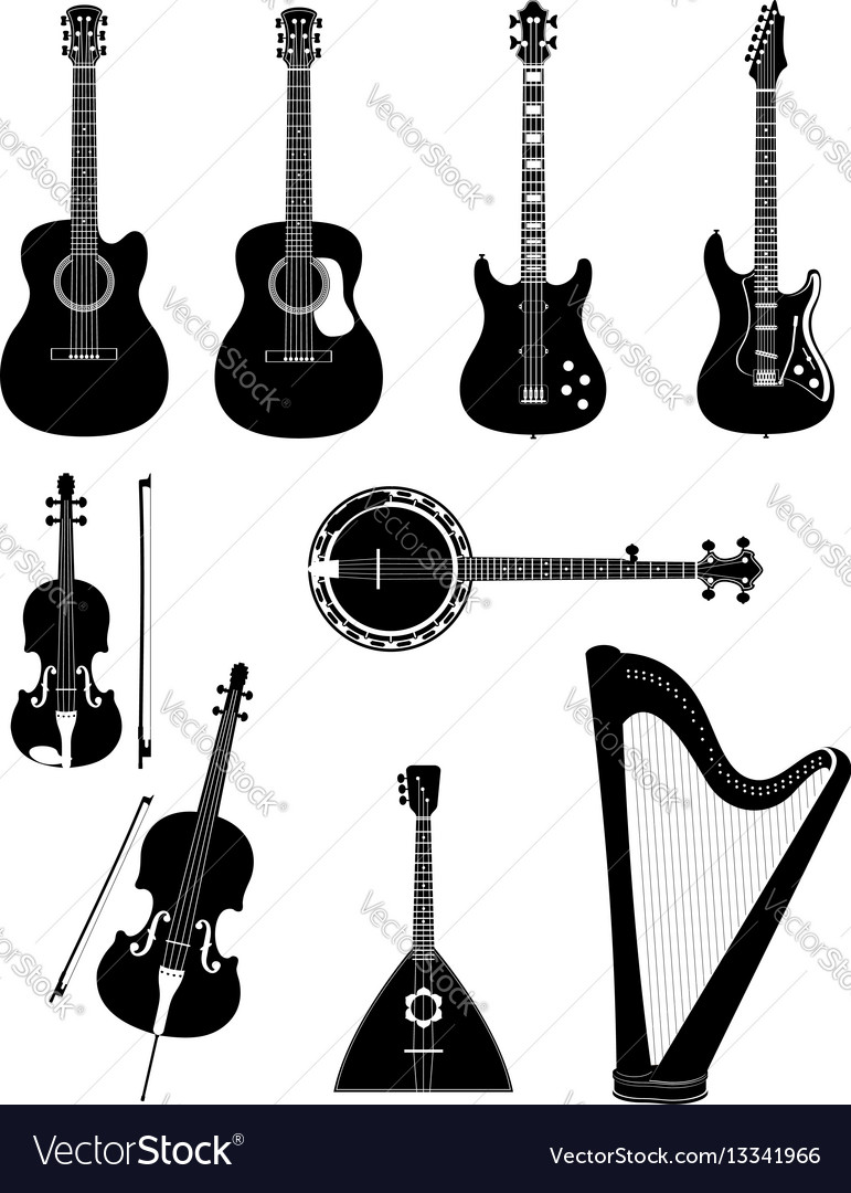 Stringed musical instruments black outline
