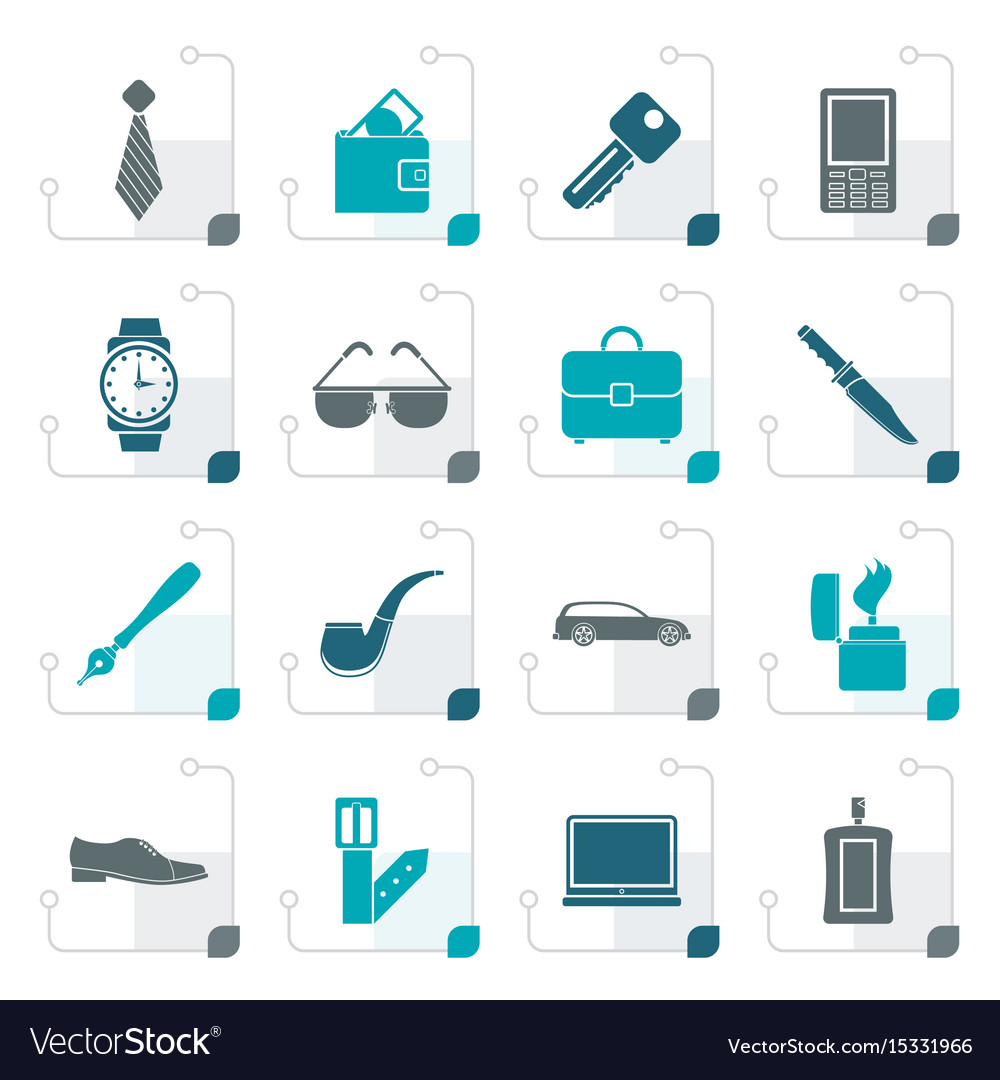 Stylized man accessories icons and objects vector image