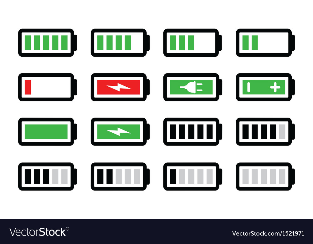 Battery charge icons set