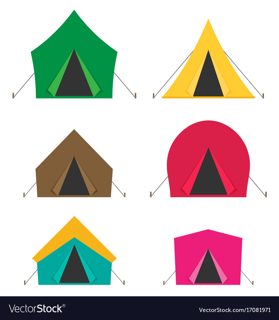 Camping tent icons isolated on white background