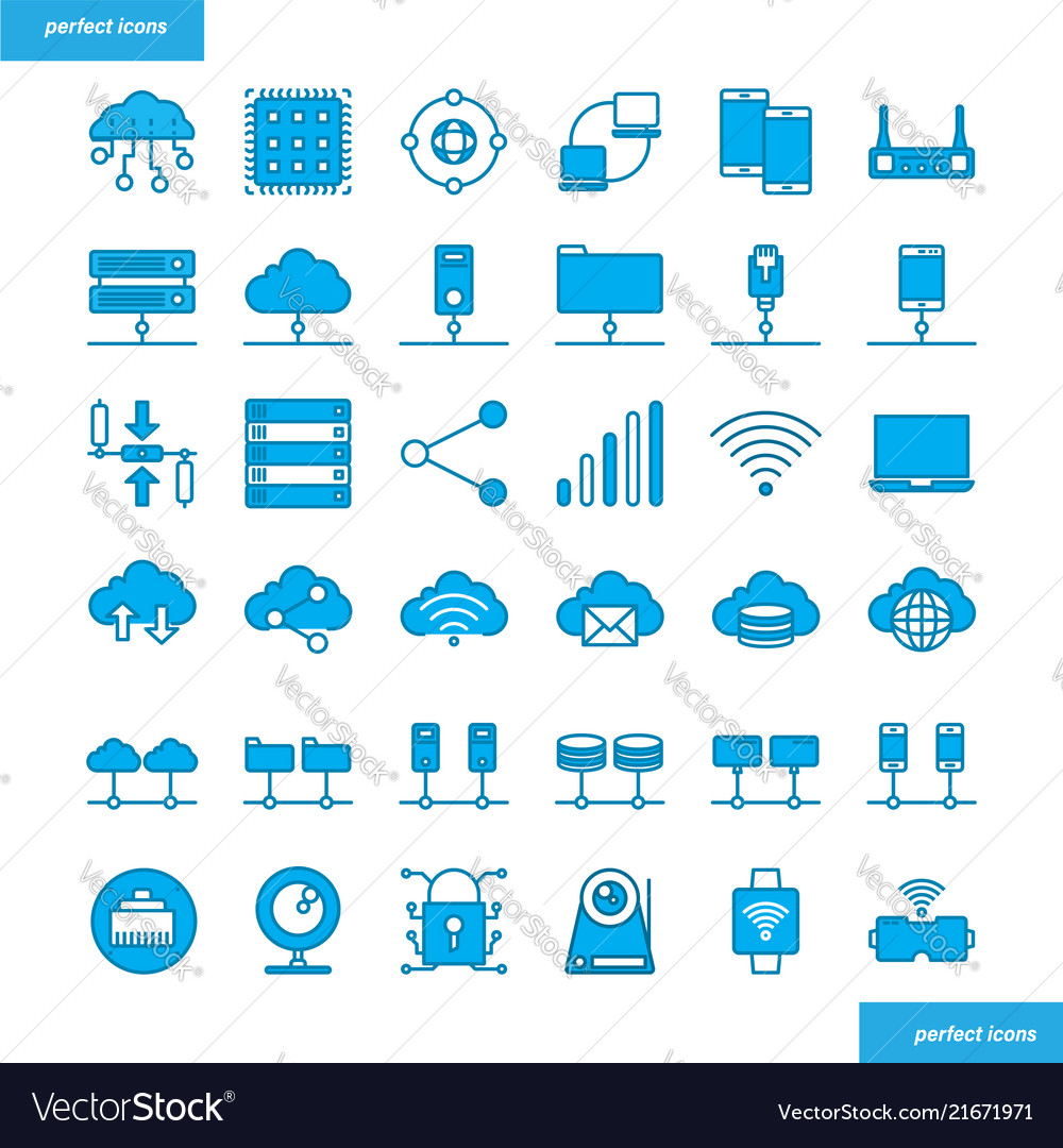 Computer networks and database blue icons set