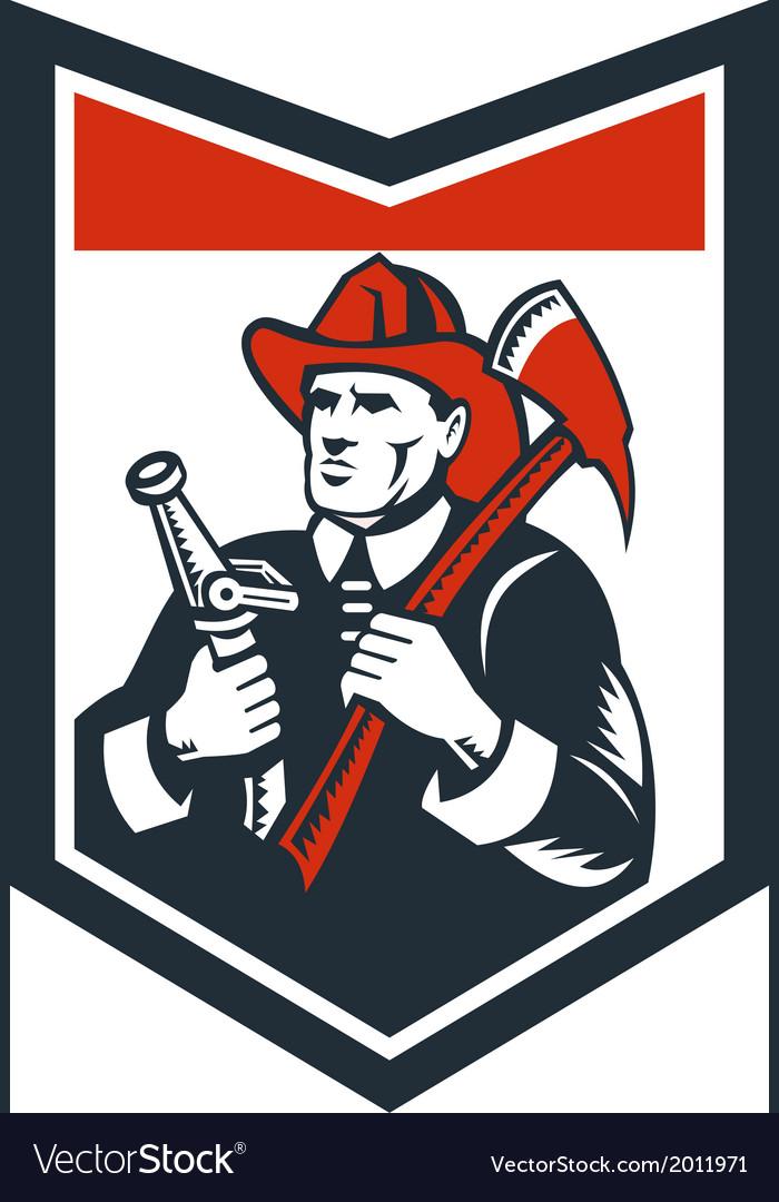 Fireman Firefighter Carry Axe Hose Shield Woodcut