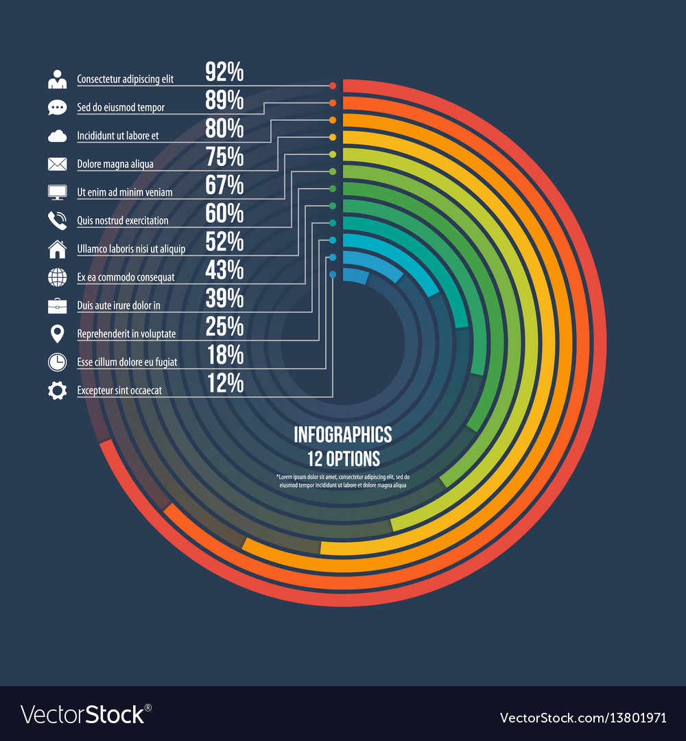 Informative infographic circle chart 12 options