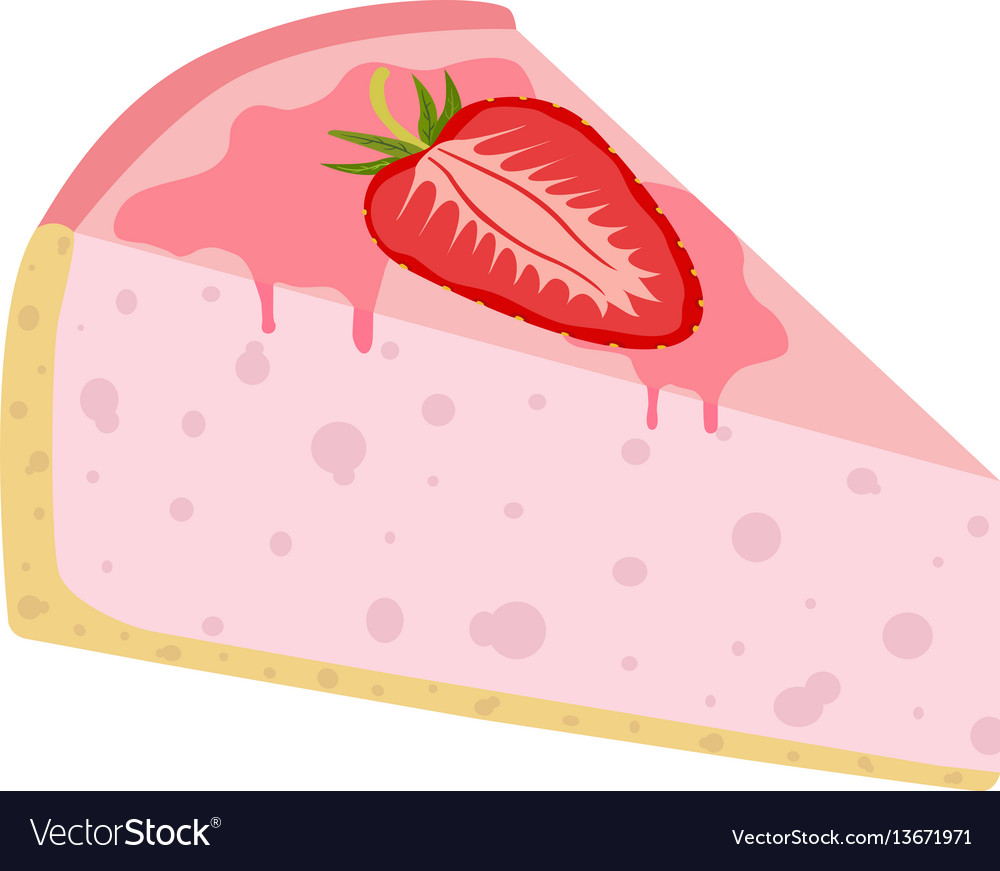 Isolated on white strawberry cheesecake pie cake vector image