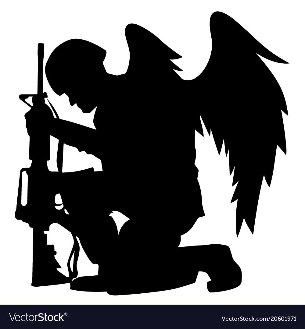 Military angel soldier with wings kneeling