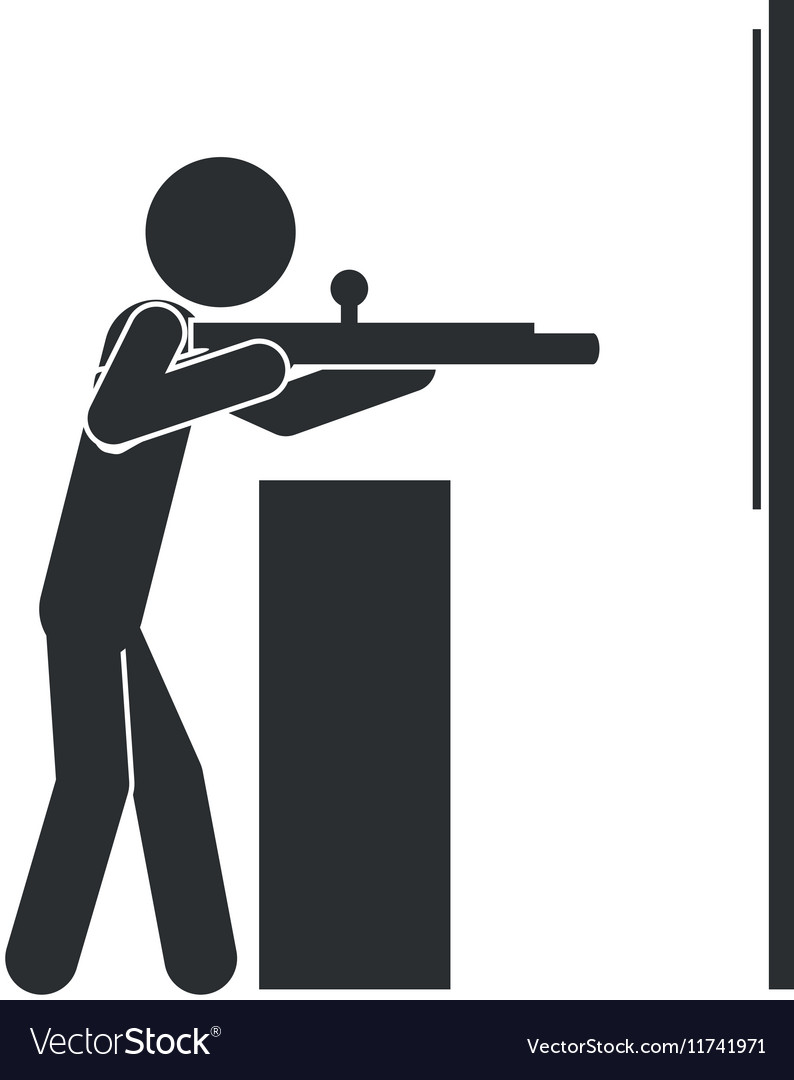 Monochrome silhouette with man shooting to target vector image