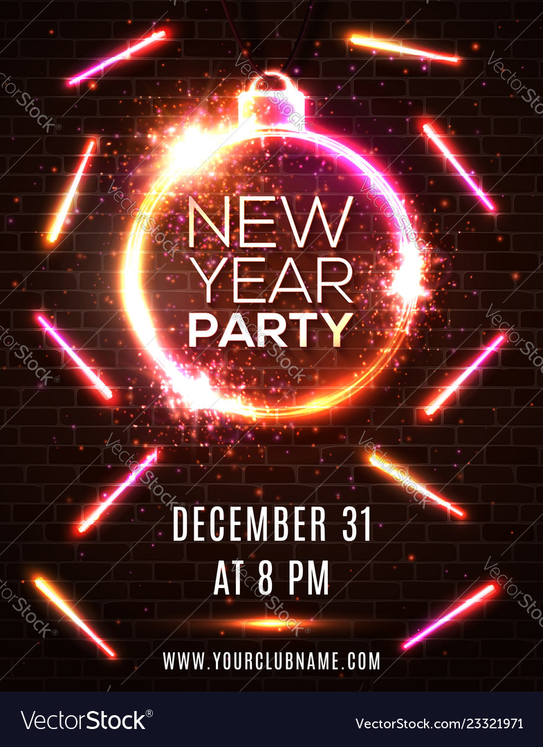 Neon new year party celebration poster template