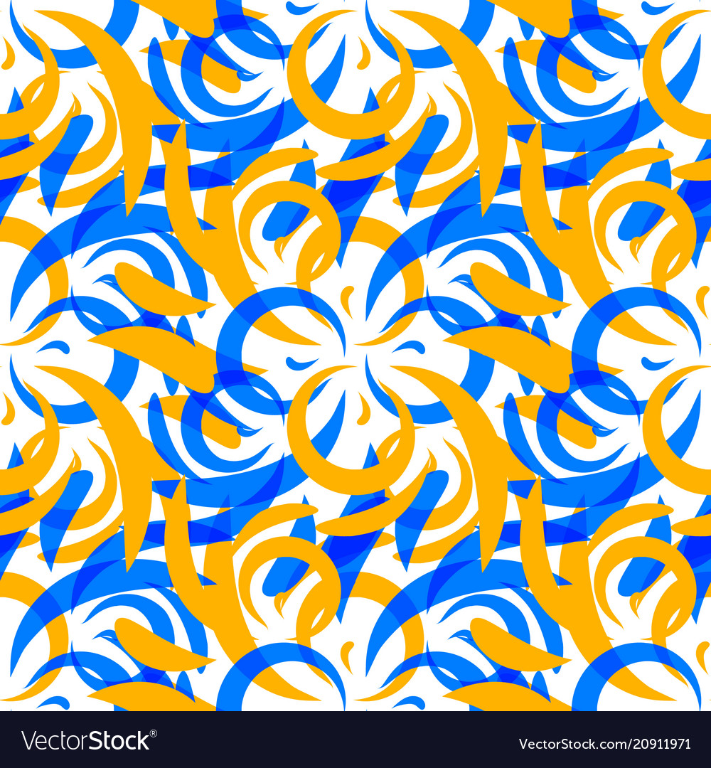 Pattern of mustard and blue doodles and curls in
