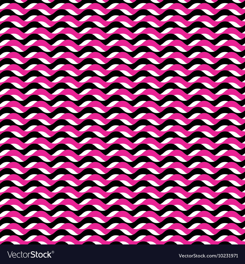 Pink and black waves seamless pattern