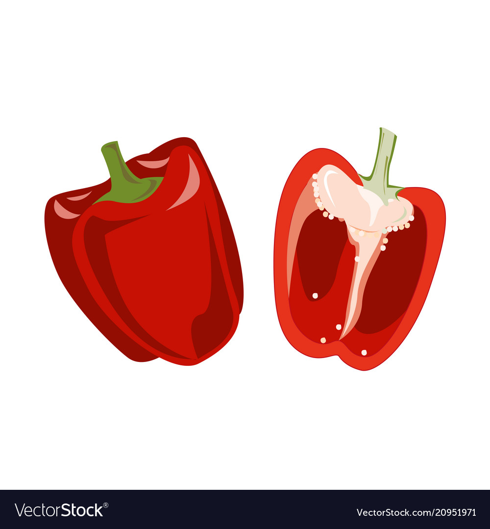 Red bell pepper whole fruit and half