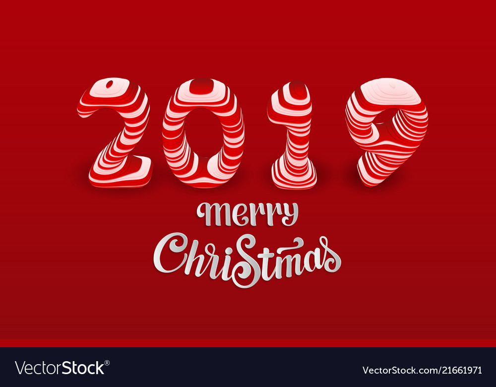 Red paper cut merry christmas 2019 numbers