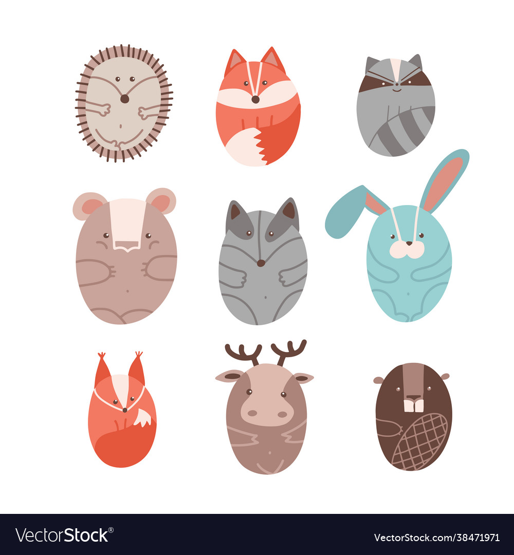 Set cute animals stylized in round shape