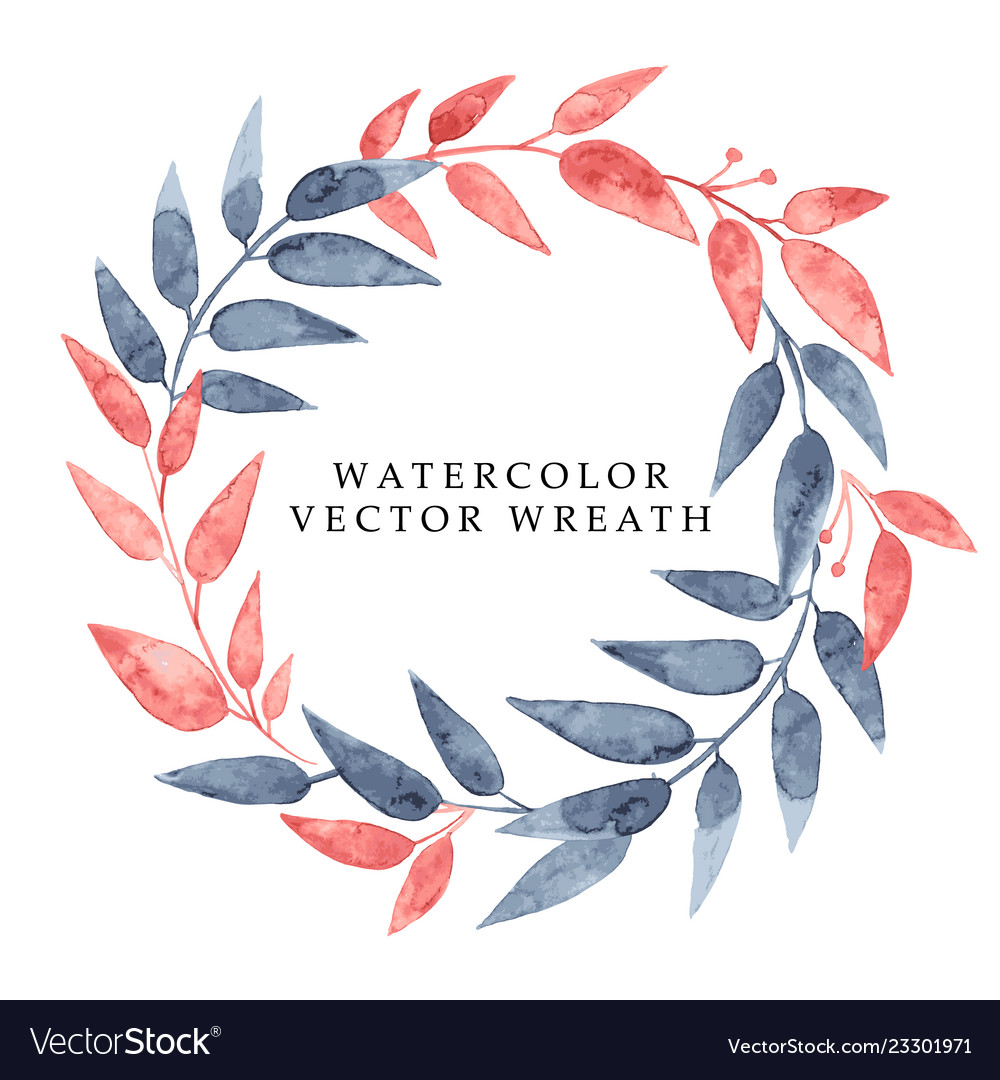 Watercolor hand drawn wreath with leaves and