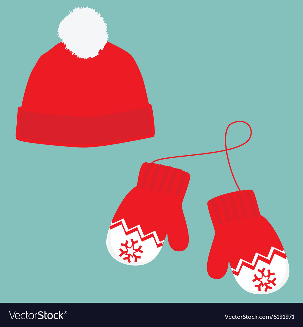 2699e063a33 Winter hat and mittens Royalty Free Vector Image
