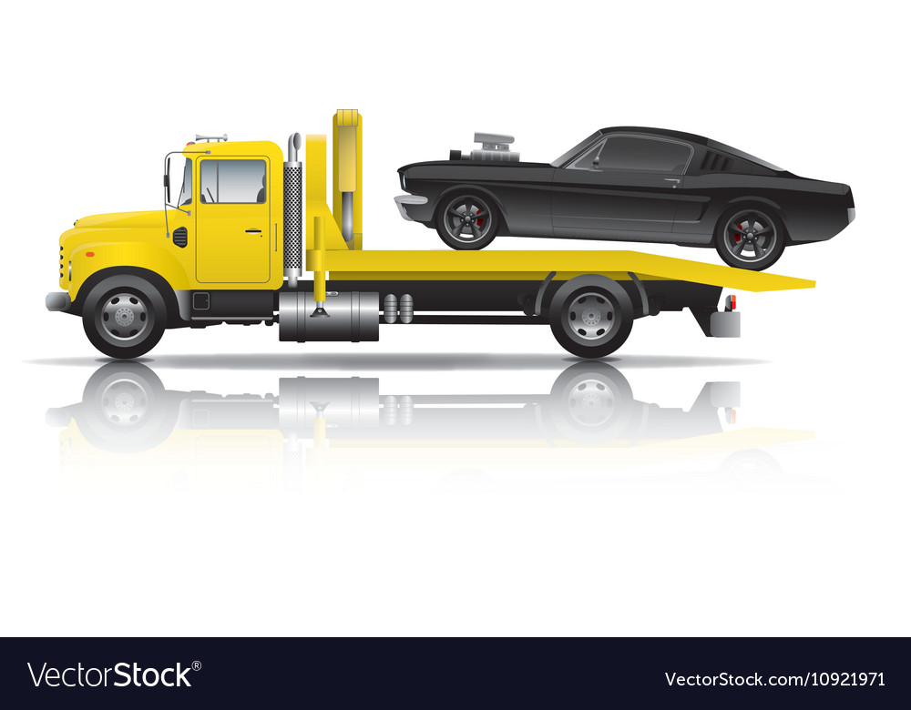 Yellow Truck Towing Black Muscle Car Royalty Free Vector