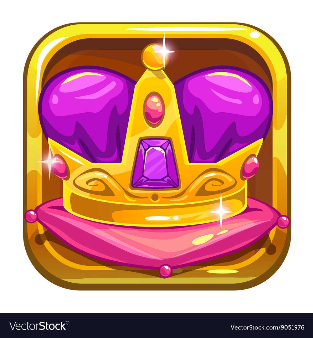 App icon template with golden kings crown