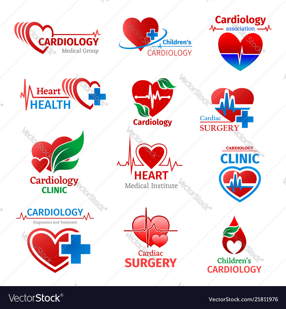 Cardiology Medicine Clinic Heart Icons Royalty Free Vector