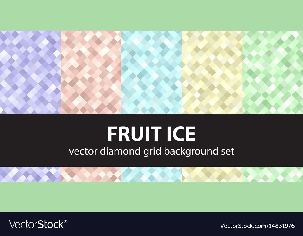 Diamond pattern set fruit ice seamless vector image