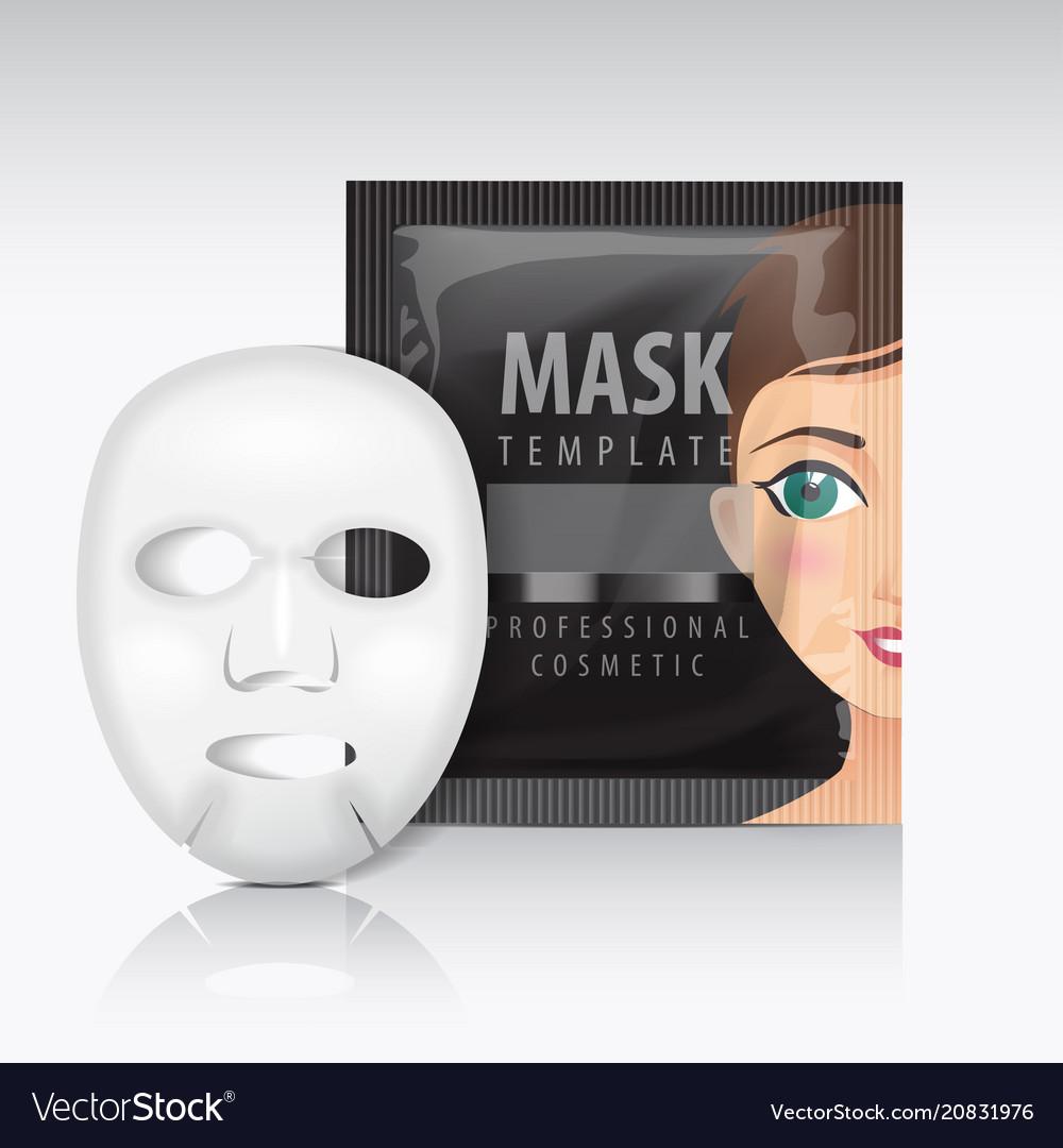 Facial sheet mask with sachet black mock