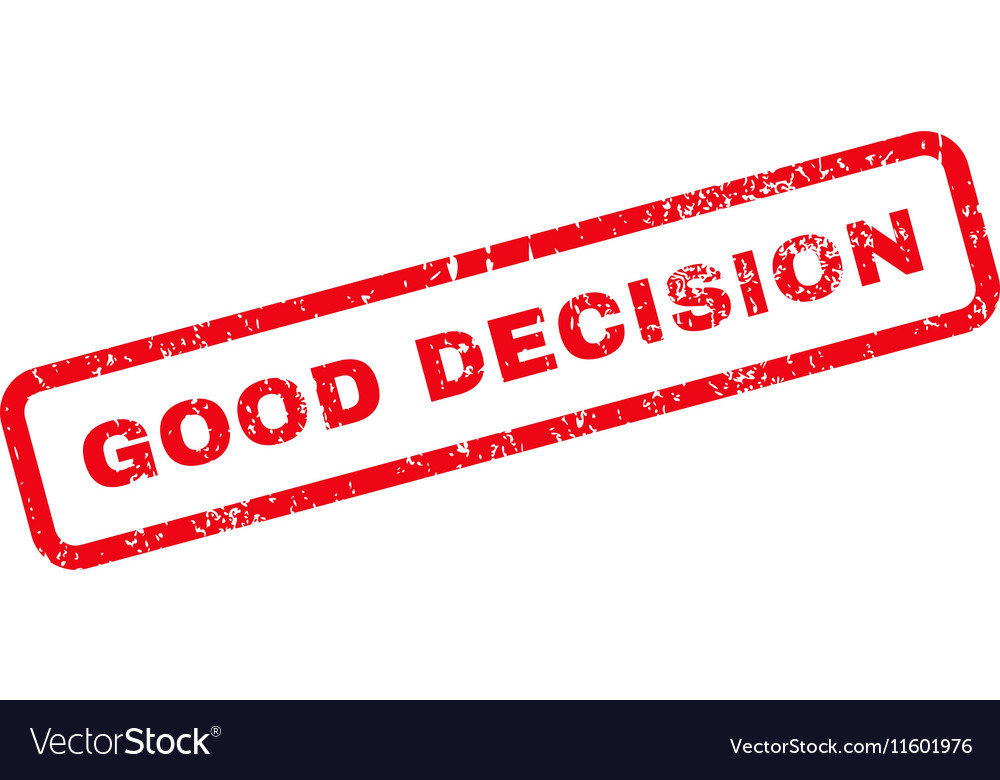 Good Decision Text Rubber Stamp