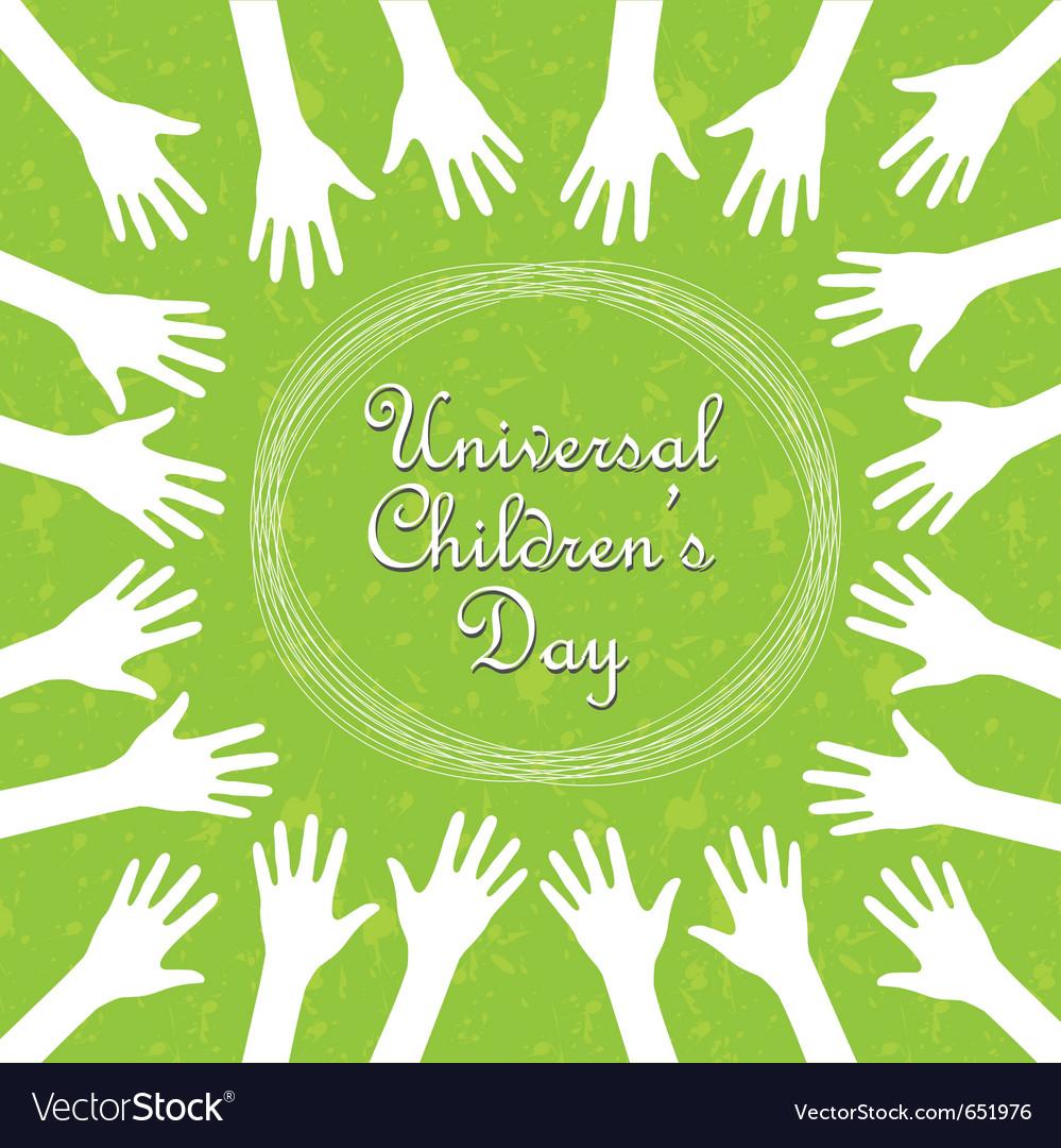 Hands around the text universal childrens day
