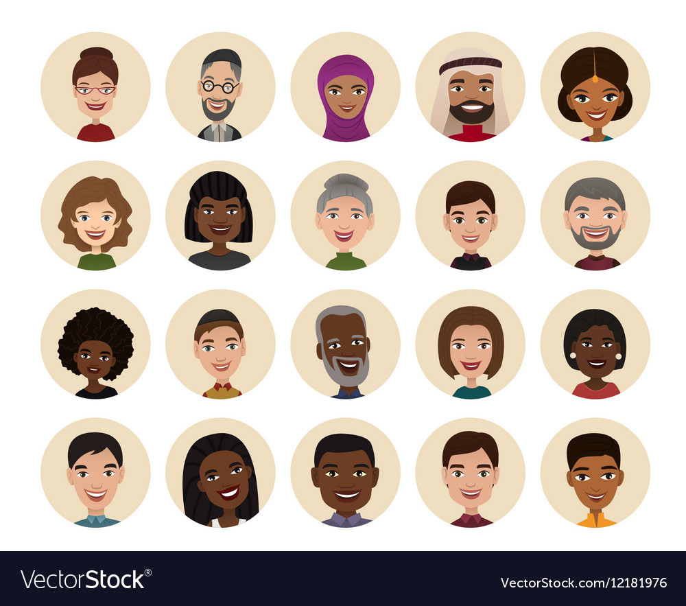 Happy people round avatar icon set vector image