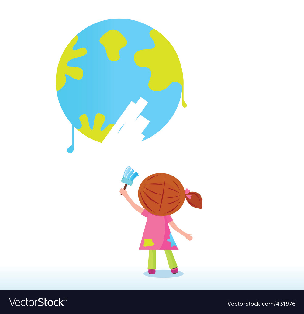 Little artist child painting vector image