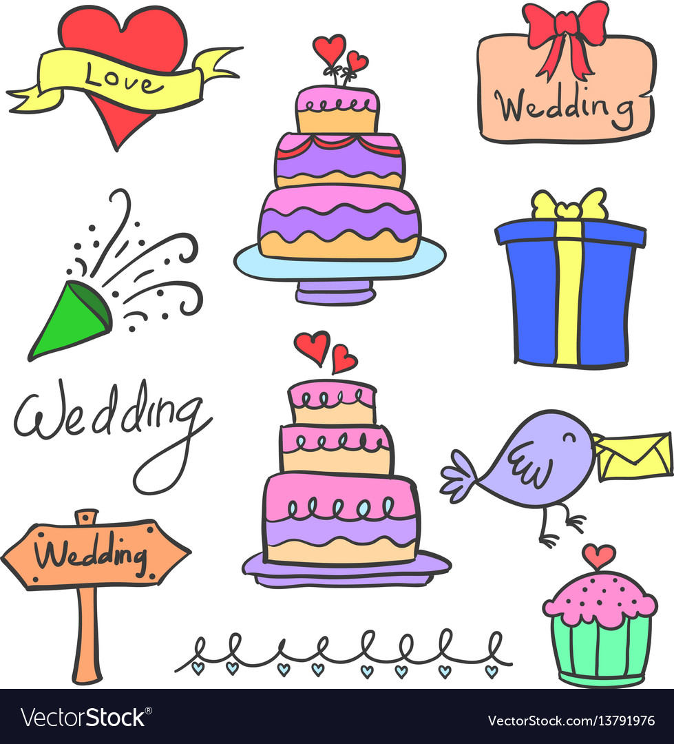Set of wedding party object doodles