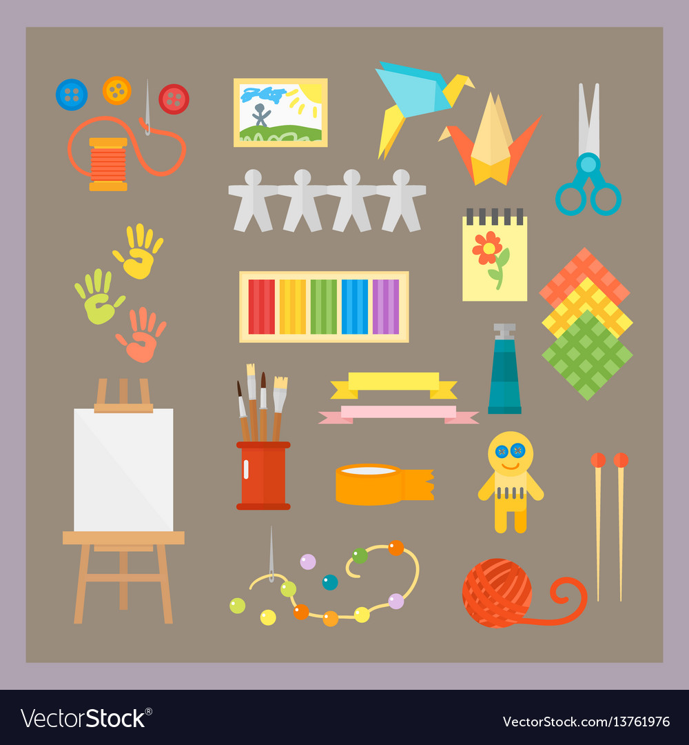 Themed kids creativity creation symbols poster in