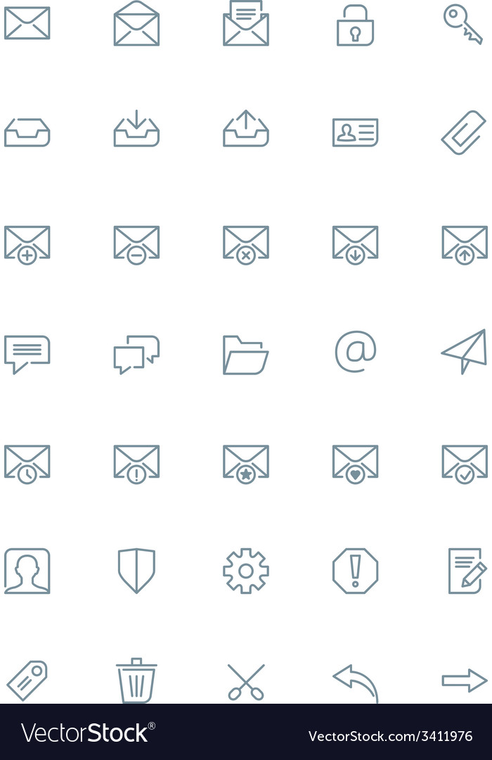 Thin line mail icons set for web and mobile apps