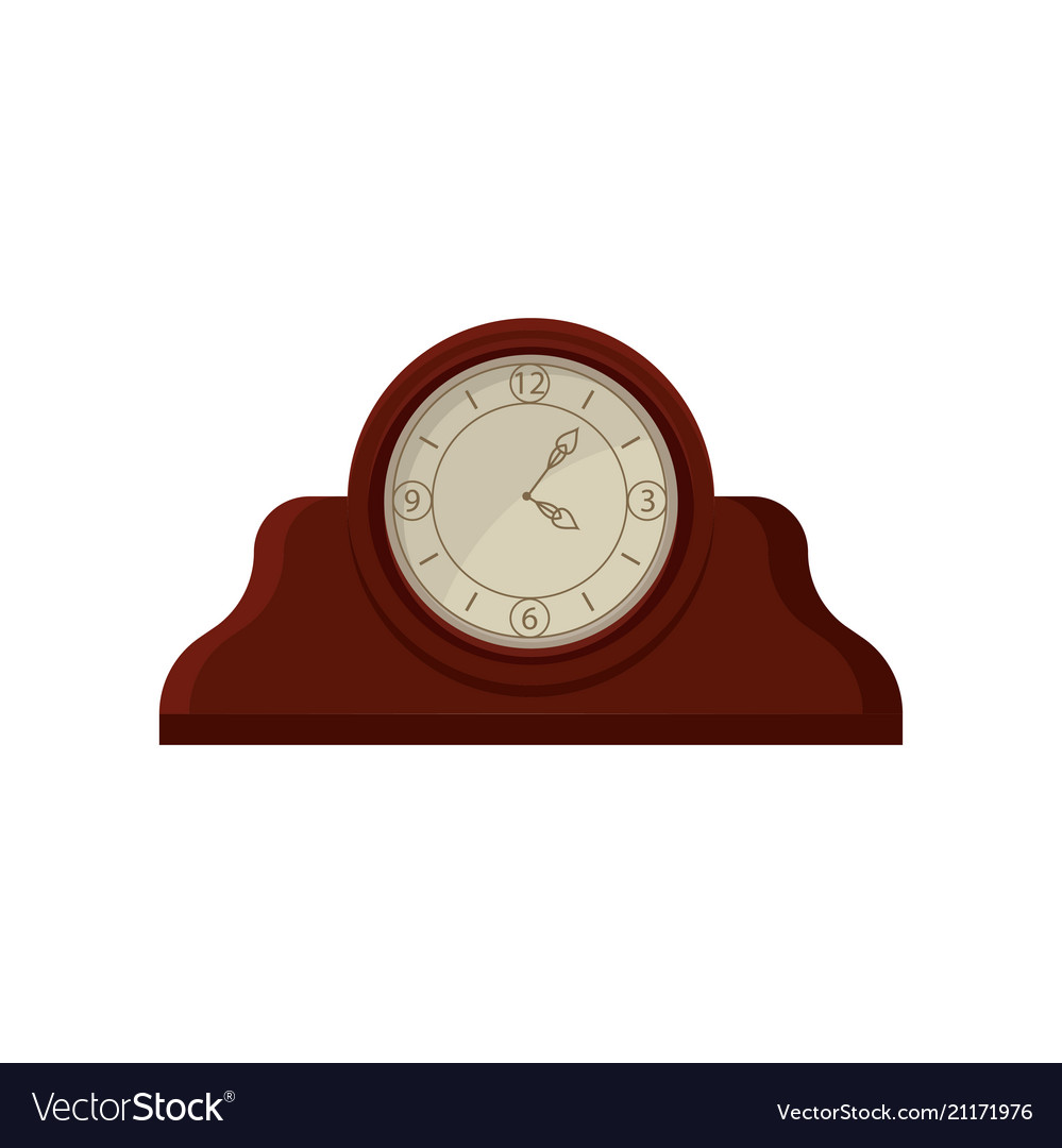 Vintage Wooden Table Desk Clock With Round Dial Vector Image