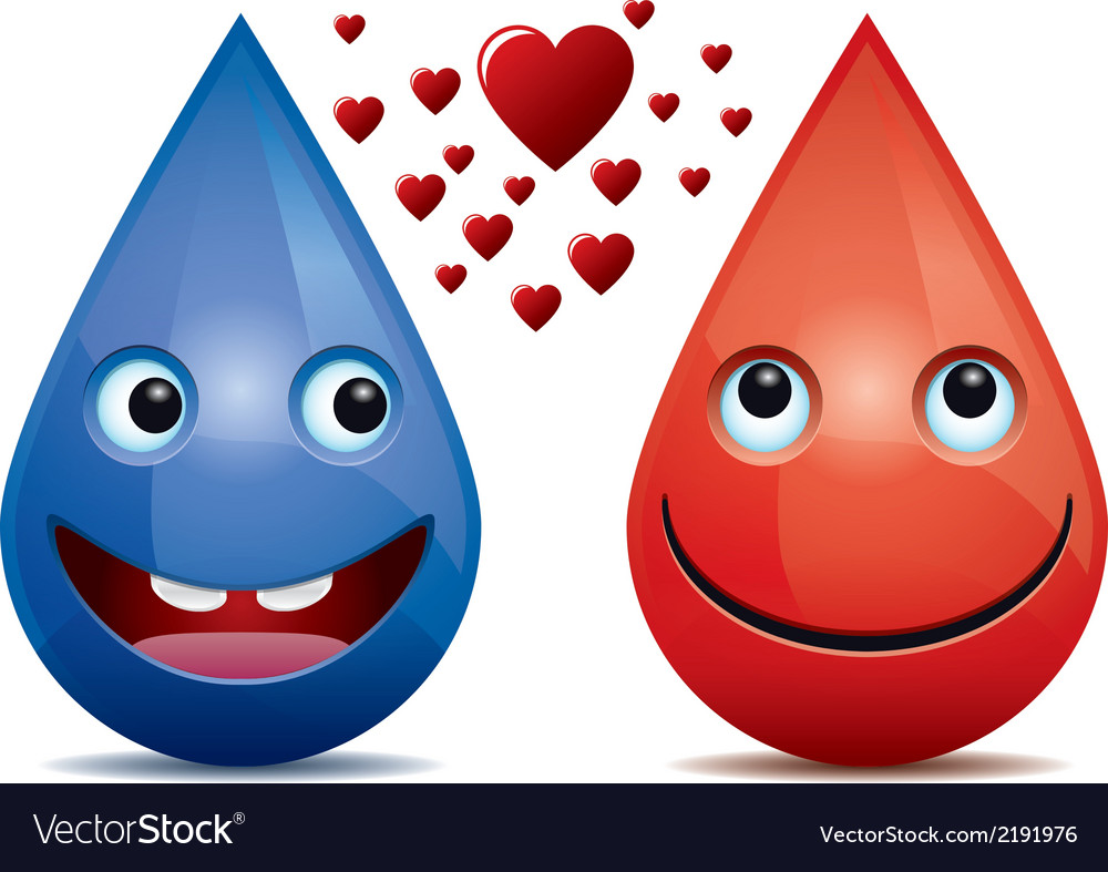 Water drops and drop of blood love